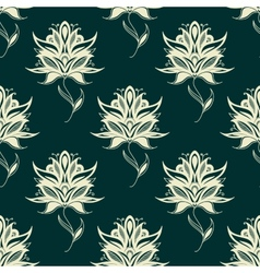 Seamless pattern paisley flowers on twining stems vector
