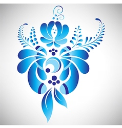 Blue floral element in Russian gzhel style vector image