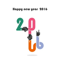 Happy new year 2016 colorful greeting card design vector