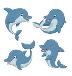 Cute cartoon dolphins set vector image