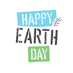 Happy earth day lettering with leaf symbol vector