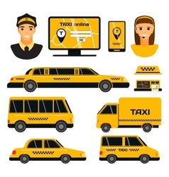 Taxi transport set vector