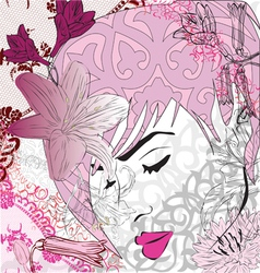 abstract background with girl vector image