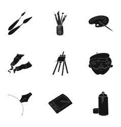 Artist and drawing set icons in black style Big vector image vector image