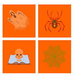 Assembly flat zombie men ghost spider book skull vector
