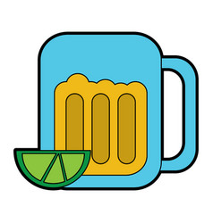 beer in glass with lime wedge icon image vector image