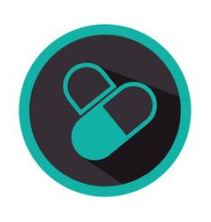 Color circular emblem with pills vector