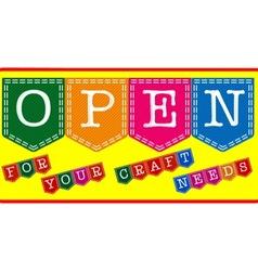 Craft shop open sign vector