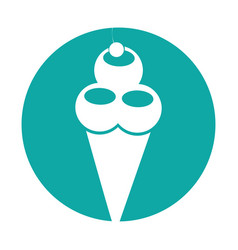 Delicious ice cream cone vector