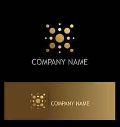 dot star technology gold logo vector image