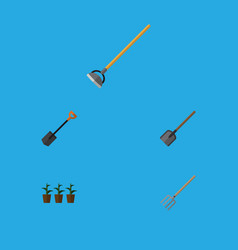 Flat icon farm set of hay fork tool spade and vector