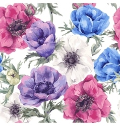 Floral seamless pattern with blooming anemones vector image