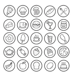 Food and drinks linear icons set vector image vector image