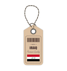 hang tag made in iraq with flag icon isolated on a vector image vector image