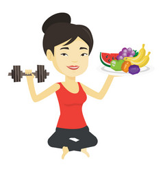 Healthy woman with fruits and dumbbell vector