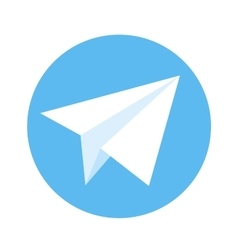 Icon of paper plane White plane on a blue vector image