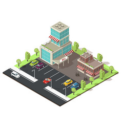 isometric shopping center template vector image