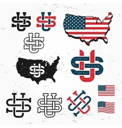 Made in USA monogram set Vintage America vector image