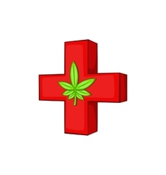 Medical marijuana sign icon cartoon style vector image