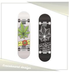 medical marijuana skateboard two vector image vector image
