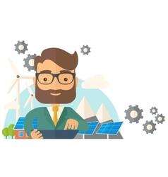 Mid adult male engineer holding blueprint vector