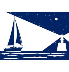 night sea vector image
