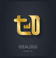 Number 2 Gold logo Metallic logotype template vector image