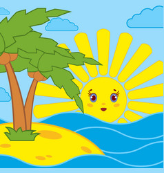 palm trees and sunrise of the cartoon sun on the vector image