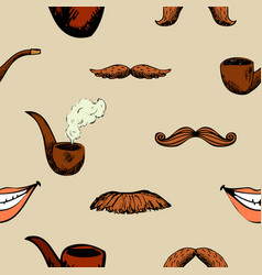 pattern with mustache and pipe vector image