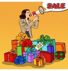 Pop art woman with megaphone promoting big sale vector