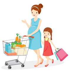 Pregnant mom and daughter shopping together vector