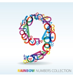 Rainbow number 9 vector