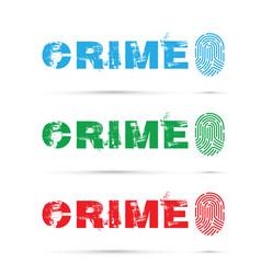 set of crime fingerprint on white background vector image vector image