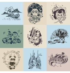 Set of images with painted fantastic creatures vector image vector image
