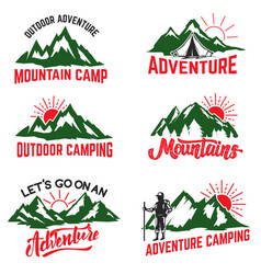 set of mountain camping badges isolated on white vector image
