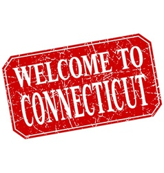Welcome to connecticut red square grunge stamp vector