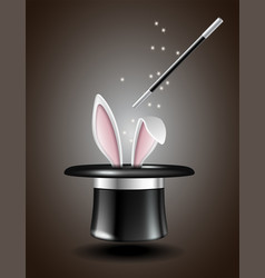 white rabbit ears appear from the magic hat vector image vector image