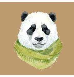 Panda bear wearing a scarf vector