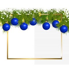 Banner of fir branches and christmas balls vector