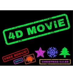 4d movie rubber stamp vector