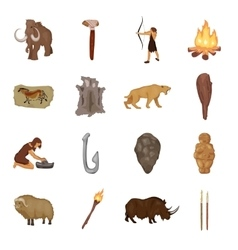 Stone age set icons in cartoon style Big vector image
