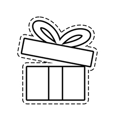 Gift box ribbon festive open cut line vector