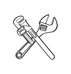 Monochrome contour with crossed wrenches vector