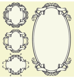 Ribbon frame and border ornaments set 05 vector