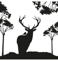 Vecrot black deer in the woods stencil vector