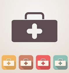 Medical bag flat icon set in color boxes with vector