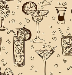 Retro seamless pattern of cocktails vector