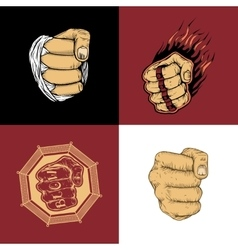 The set of four images with fists vector