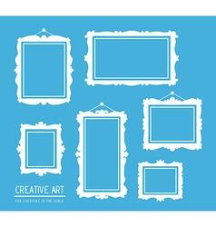 Set of white rectangular frames on blue b vector