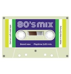 Vintage cassette with lettering title eighties mix vector
